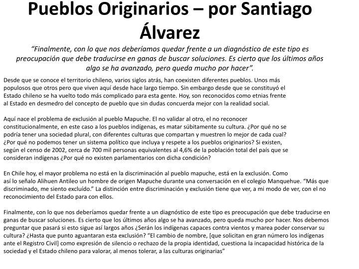 Pueblos Originarios – por Santiago Álvarez