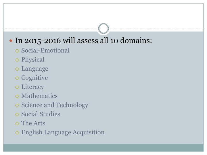 In 2015-2016 will assess