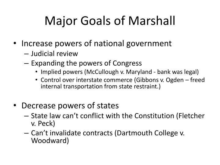 Major Goals of Marshall
