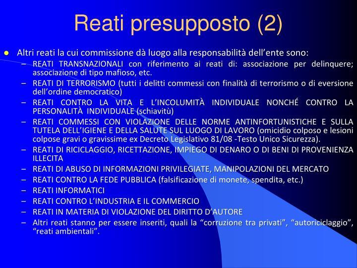 Reati presupposto (2)