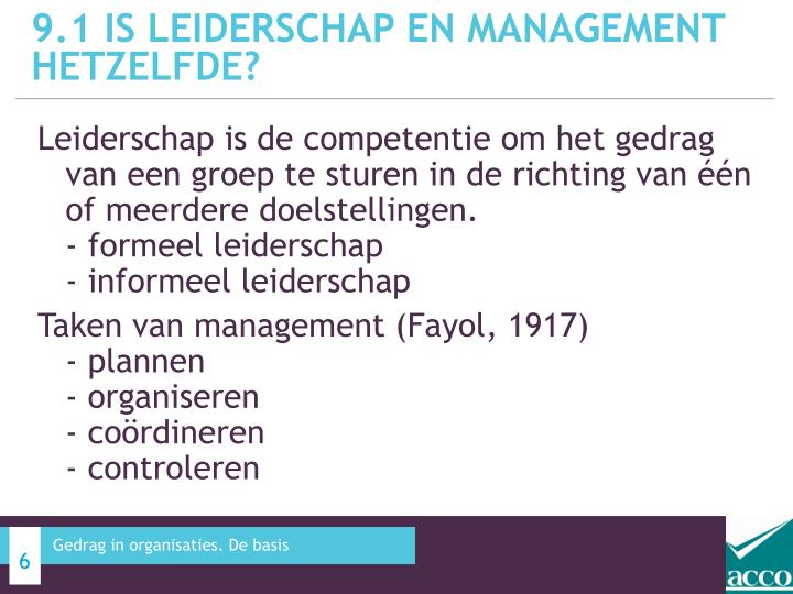 9.1 IS leiderschap en management hetzelfde?