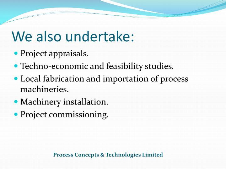 We also undertake:
