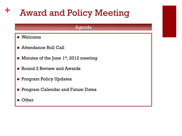Award and policy meeting