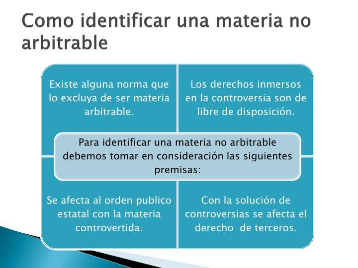 Como identificar una materia no arbitrable