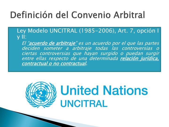 Definición del Convenio Arbitral