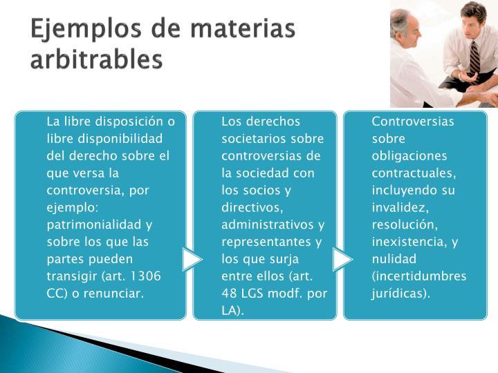Ejemplos de materias