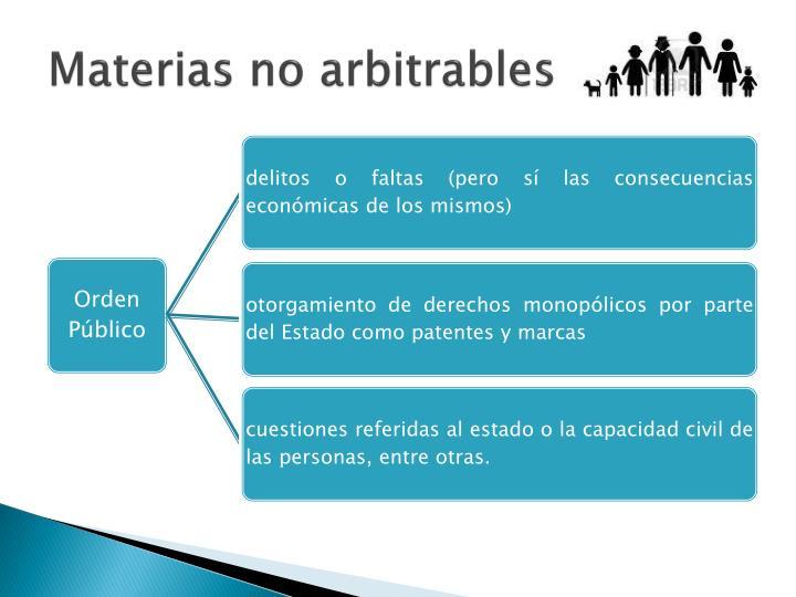 Materias no arbitrables