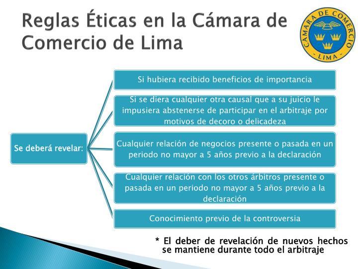 Reglas Éticas en la Cámara de Comercio de Lima