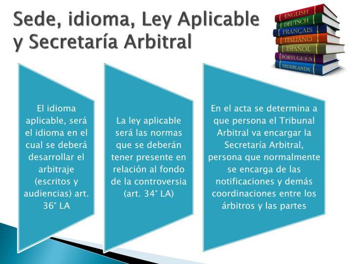 Sede, idioma, Ley Aplicable