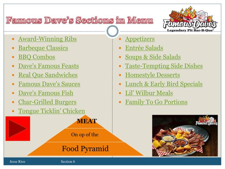 Famous Dave's Sections in Menu