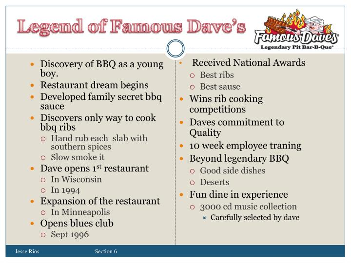 Legend of Famous Dave's