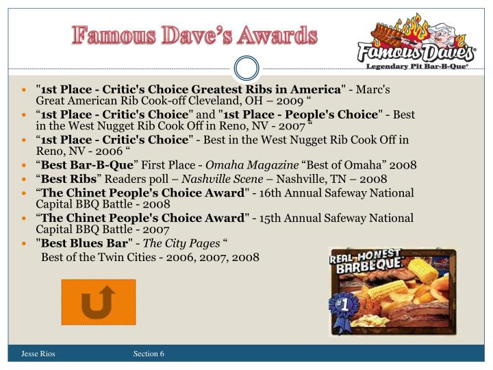 Famous Dave's Awards