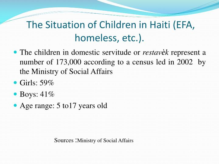 The Situation of Children in Haiti (EFA, homeless, etc.).