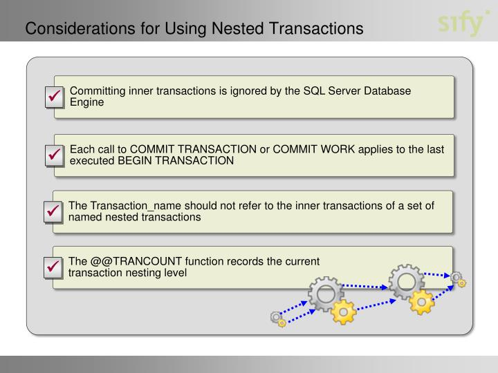 Considerations for Using Nested Transactions