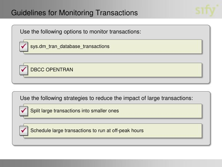 Guidelines for Monitoring Transactions