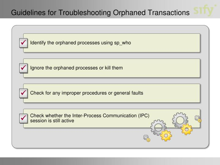 Guidelines for Troubleshooting Orphaned Transactions