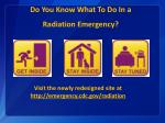 do you know what to do in a radiation emergency