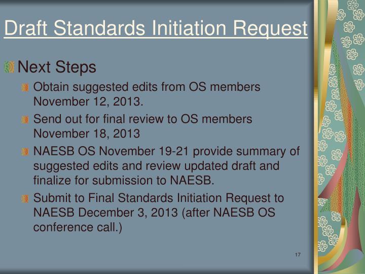 Draft Standards Initiation Request