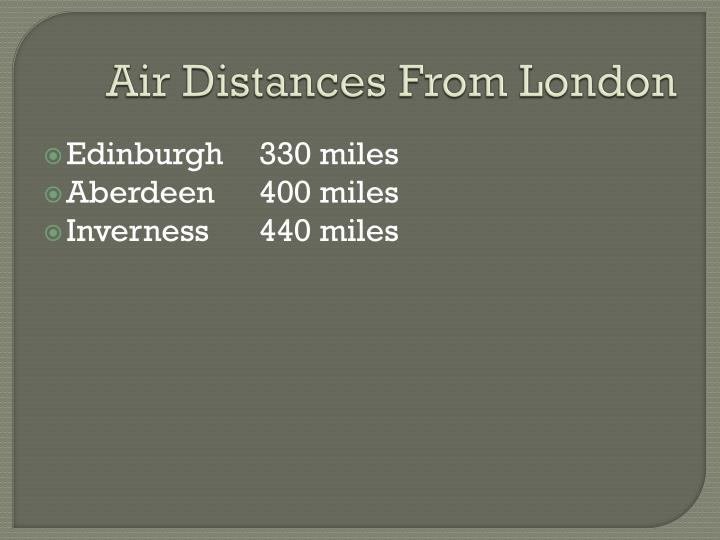 Air Distances From London