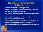 health communication objectives
