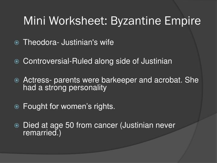 Mini Worksheet: Byzantine Empire