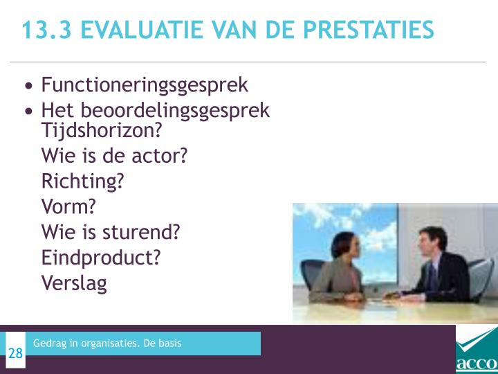 13.3 Evaluatie van de prestaties