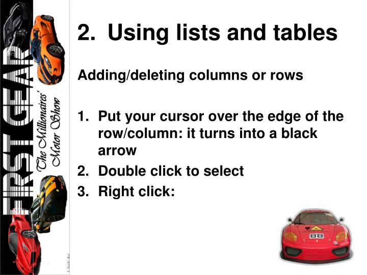 Using lists and tables
