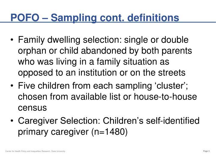 POFO – Sampling cont. definitions