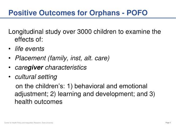 Positive Outcomes for Orphans - POFO