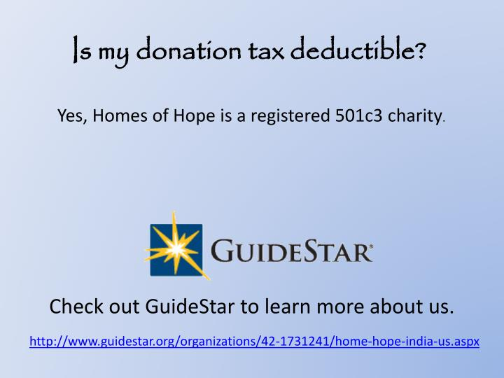 Is my donation tax deductible?