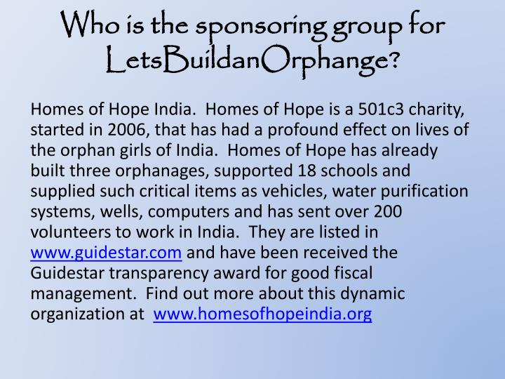 Who is the sponsoring group for