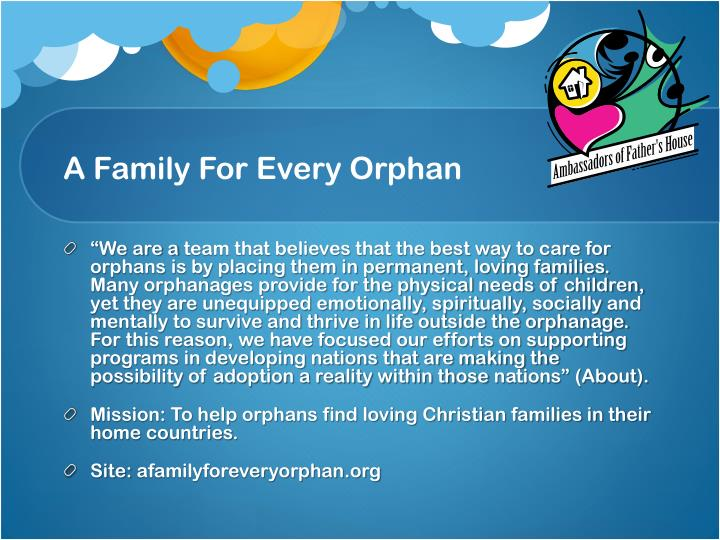 A Family For Every Orphan