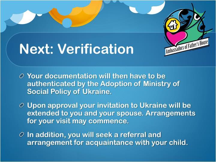 Next: Verification