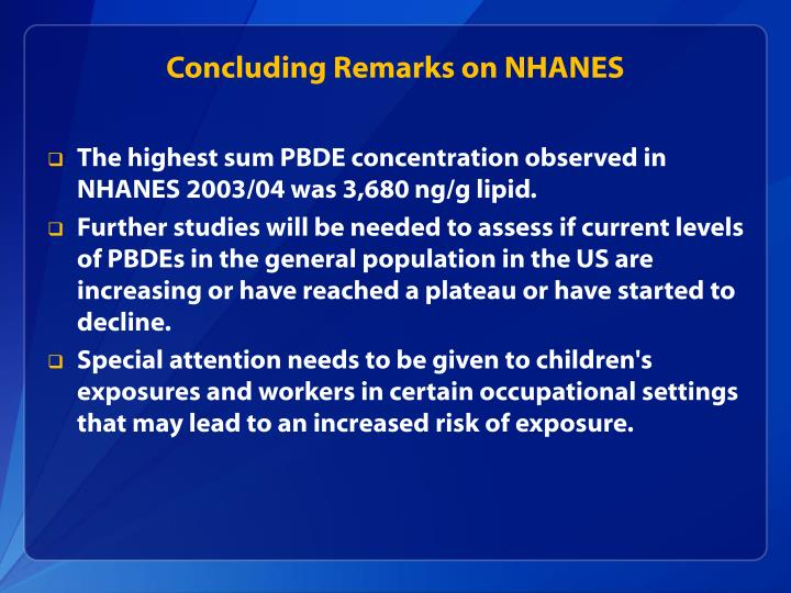 Concluding Remarks on NHANES