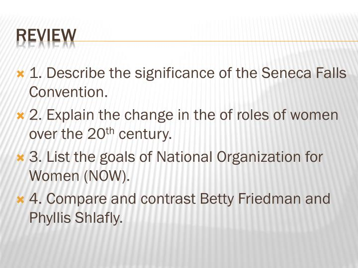 1. Describe the significance of the Seneca Falls Convention.
