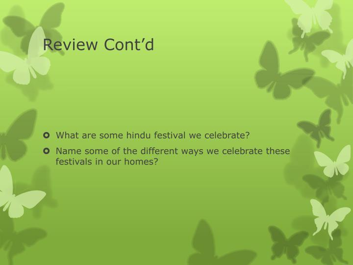 Review Cont'd