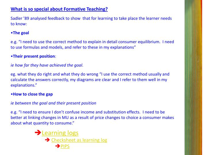 What is so special about Formative Teaching?