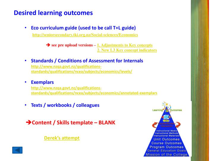 Desired learning outcomes