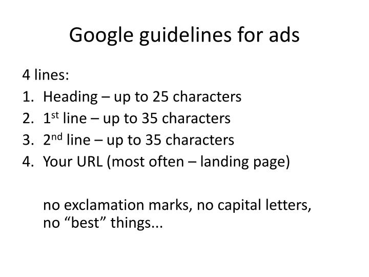 Google guidelines for ads