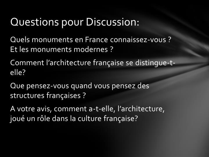 Questions pour Discussion: