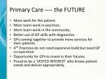 primary care the future