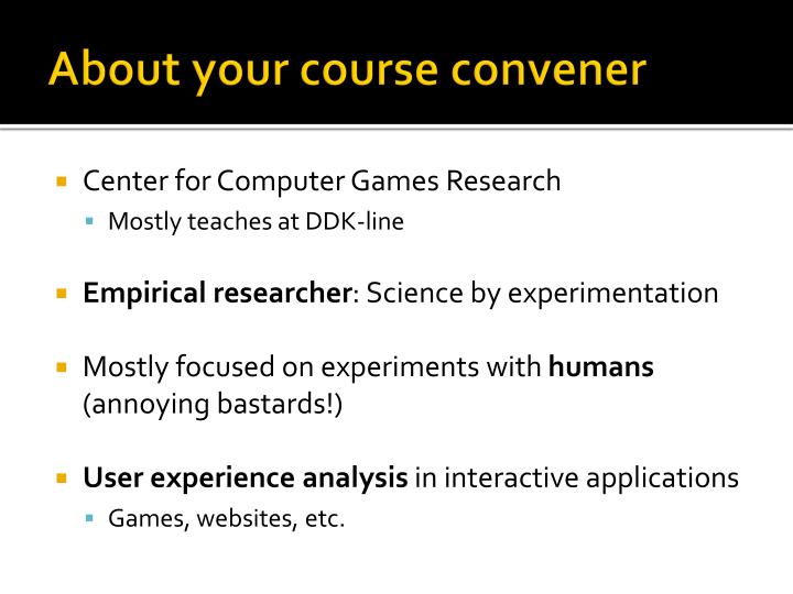 About your course convener