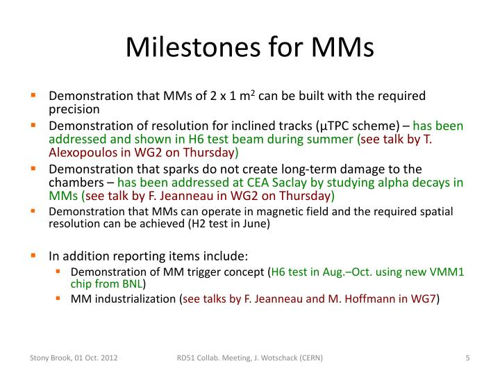 Milestones for MMs