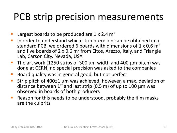 PCB strip precision measurements