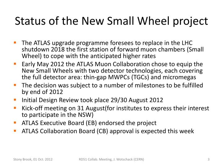 Status of the New Small Wheel project