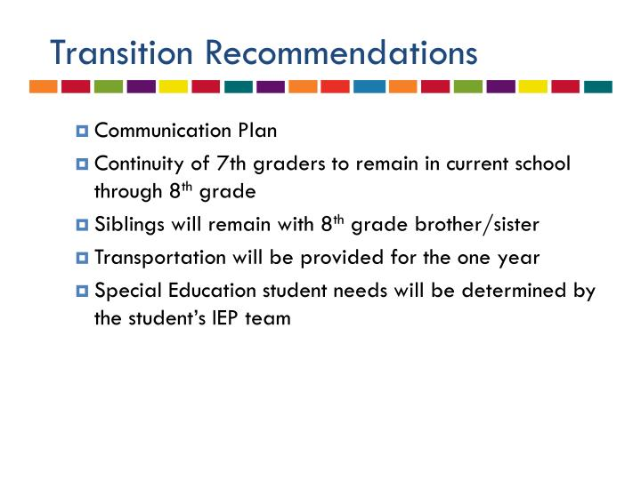 Transition Recommendations