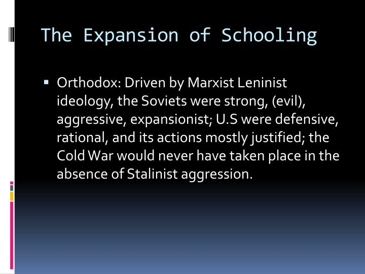 The Expansion of Schooling
