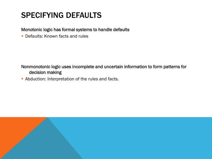 Specifying Defaults