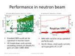 performance in neutron beam
