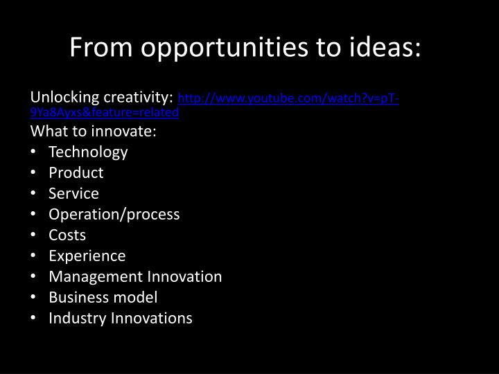 From opportunities to ideas: